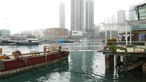 Seaboard hovel windows out to typhoon shelter and pier Footage