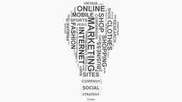 Light Bulb Brand marketing strategies online business word cloud text typography Footage