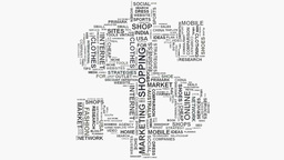 Dollar symbol Online shopping marketing concept word cloud text typography Footage