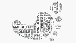 Foot print E-commerce brand marketing strategies business word cloud typography Live Action