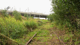 View of an abandoned old railways in summer windy day.Motorway on a background Footage