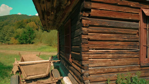 Wide Shot of an Abandoned Log House Footage