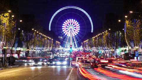A Timelapse Shot in Paris Champs Elysee Avenue with the Ferris Wheel Footage