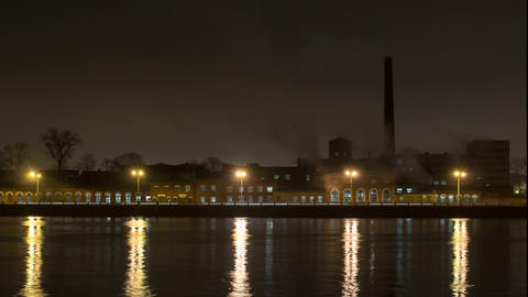Old paper factory night timelapse St Petersburg , Russia Footage