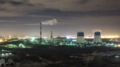 Power plant night timelapse zoom in view Stock Video Footage
