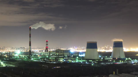 Power plant night timelapse Footage