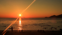 fantastic turn around of sun beams sun-path across sea Footage