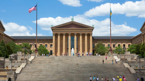 Timelapse Of People Moving In Front Of The Philadelphia Art Museum Stairs Steps  stock footage