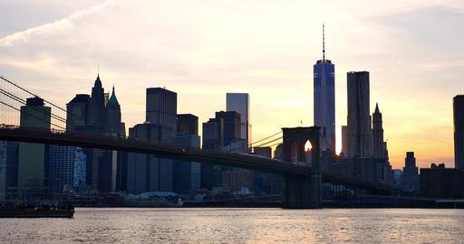 4K view of Manhattan skyline at sunset - New York - USA Footage