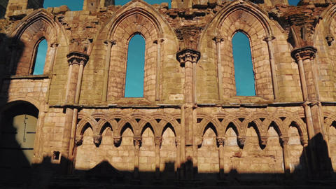 Ruins of Holyrood Abbey in Edinburgh, UK - Wide Angle Footage
