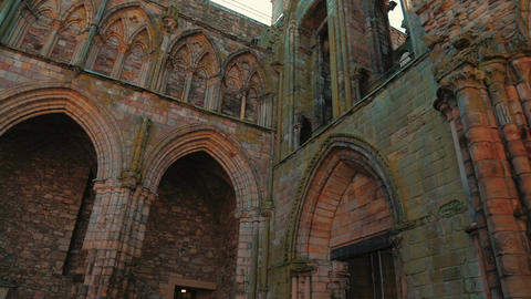 Ruins of Holyrood Abbey in Edinburgh, UK - Close-up Footage