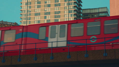 Close-up Shot of a DLR Train Crossing a Bridge Footage
