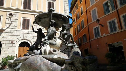 Fountain at square in Rome Footage