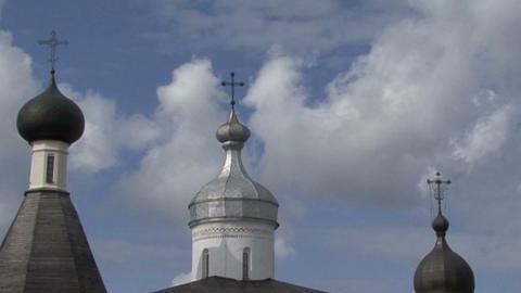 Ferapontovo . Timelapse . Church Cross Clouds Footage