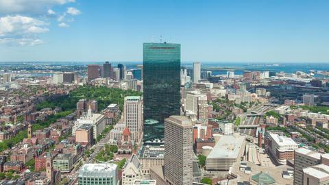 4K Aerial timelaspe of Boston skyline - Massachusetts - USA Footage