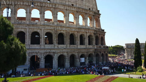 Colosseum entrance with lots of tourists Live Action