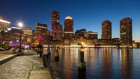 4K Night timelapse of Boston skyline - Massachusetts - USA Footage