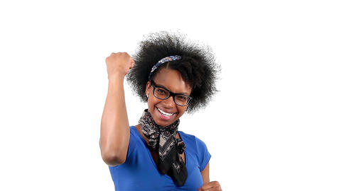 Happy african american woman showing success sign Footage