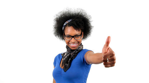 Happy african american woman showing thumbs up success sign Footage