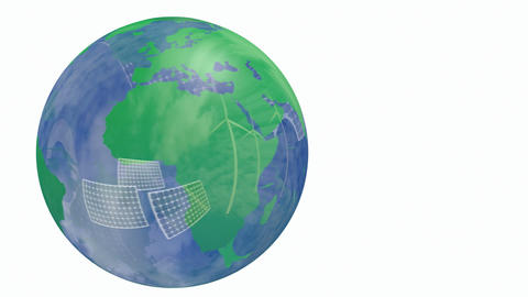 Renewable energy Earth globe Animation
