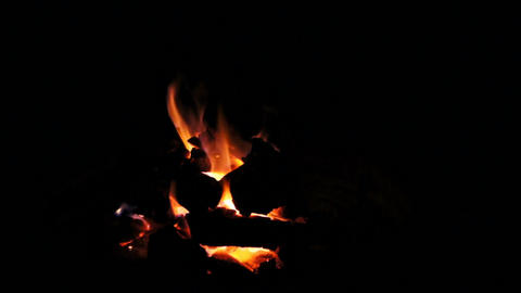 Fire Pit With Coals Falling Stock Video Footage