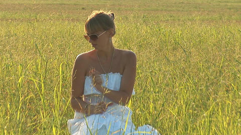 woman in grass a Footage