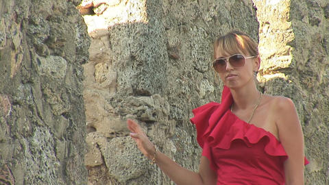 woman in red a Stock Video Footage