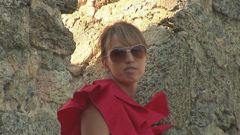 woman in red c Stock Video Footage