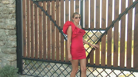 woman in red g Stock Video Footage