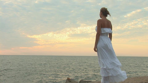 woman in white b Stock Video Footage
