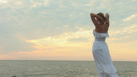 woman in white d Stock Video Footage