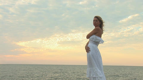 woman in white f Stock Video Footage