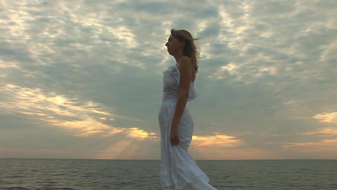 woman in white h Stock Video Footage