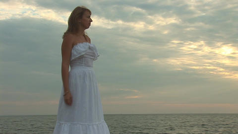 woman in white j Stock Video Footage