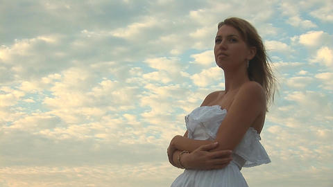 woman in white l Stock Video Footage