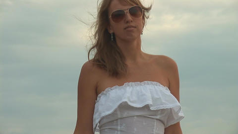 woman in white p Stock Video Footage