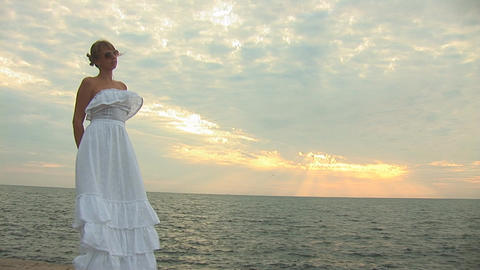 woman in white r Stock Video Footage