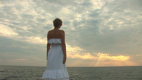 woman in white t Stock Video Footage
