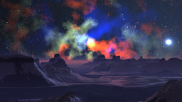 Bright nebula in the sky of a fantastic planet Stock Video Footage