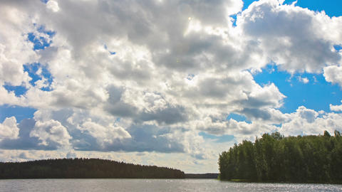 White Clouds over the Lake Stock Video Footage