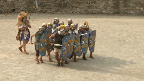 roman gaul fight 04 Stock Video Footage