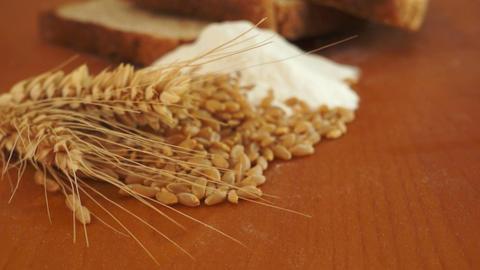 Wheat Grain Flour Bread Dolly Shot Stock Video Footage