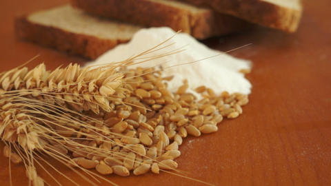 Wheat Grain Flour Bread Dolly Shot Stock Video Footage