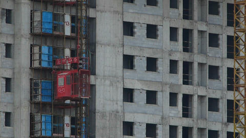The movement of elevator,close to construction site building Stock Video Footage