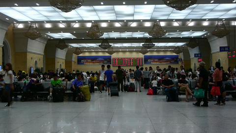 The waiting hall of train station,Chinese o China Stock Video Footage