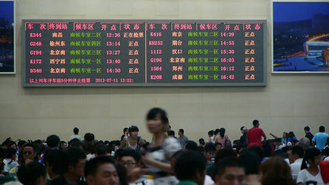 The train station information led screen,Chinese of China Stock Video Footage