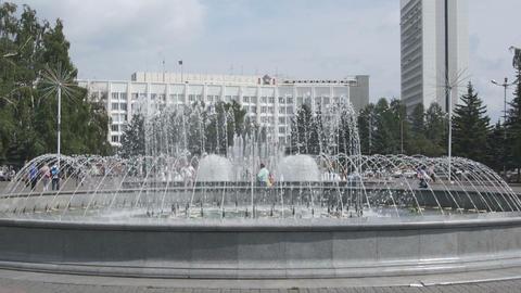 Krasnoyarsk City Fountain 02 Stock Video Footage
