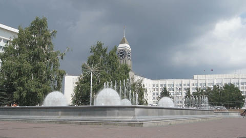 Krasnoyarsk City Fountain 04 Stock Video Footage