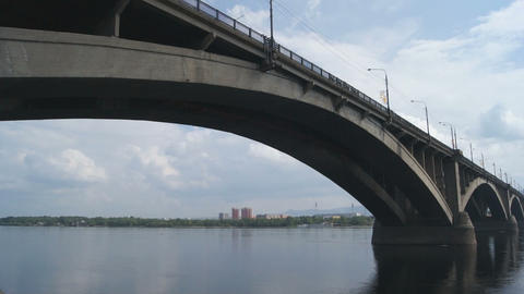 Bridge Over Yenisei River 02 Stock Video Footage