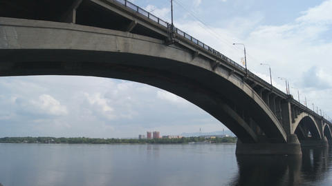 Bridge Over Yenisei River 02 Stock Video Footage